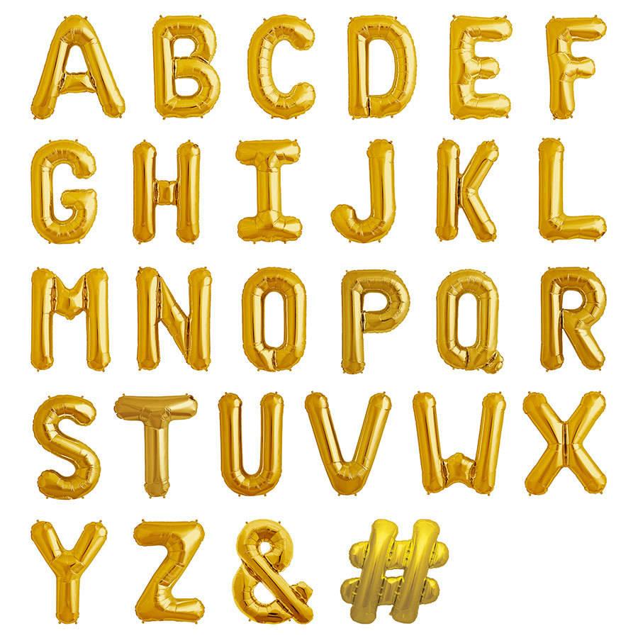 16 Gold Letter Foil Balloons