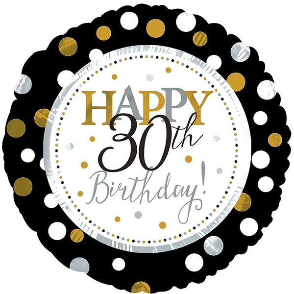 18 Happy 30th Birthday Black Gold Foil Balloon